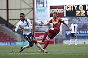 Bradford City forward Billy Clarke (10)  with a shot during the Sky Bet League 1 match between Bradford City and Millwall at the Coral Windows Stadium, Bradford, England on 26 March 2016. Photo by Simon Davies.
