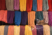 Multi-colored Alpaca yarn for sale at a market in Pisac, Peru.
