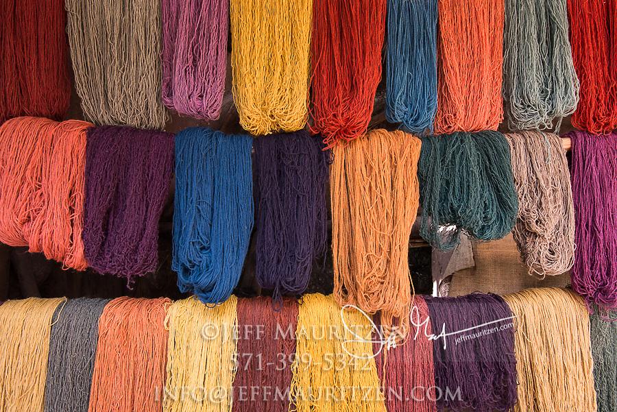 Multi-colored Alpaca yarn for sale at a market in Pisac, Peru.