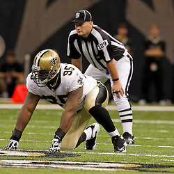 2009 August 14: New Orleans Saints defensive end Paul Spicer (95) lines up for a play during a preseason opener between the Cincinnati Bengals and the New Orleans Saints at the Louisiana Superdome in New Orleans, Louisiana.