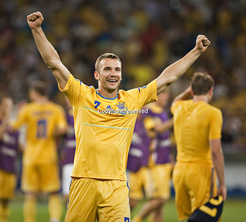 11.06.2012. Kiev Ukraine.  National Stadium cheering from Andriy Shevchenko Ukraine. Euro 2012 Football Championships in Kiev Capital of Ukraine June 11 2012 Ukraine Won 2 1