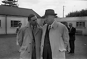 19/09/1967<br /> 09/19/1967<br /> 19 September 1967<br /> Goffs September Sales at Ballsbridge, Dublin. Picture shows Mr J.P. Frost (right), Chairman, The National Stud with Captain Tim Rogers of Airlie Stud.