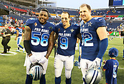 Jan 28, 2018; Orlando, FL, USA; NFC  linebacker Thomas Davis of the Carolina Panthers (58) and NFC quarterback Drew Brees of the New Orleans Saints (9) and NFC tight end Jason Witten of the Dallas Cowboys (82) pose after playing in the 2018 NFL Pro Bowl at Camping World Stadium. The AFC defeated the NFC 24-23. (Steve Jacobson/Image of Sport)
