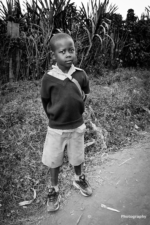 Portrait of a school boy in Mto Wa Mbu, Tanzania, Africa