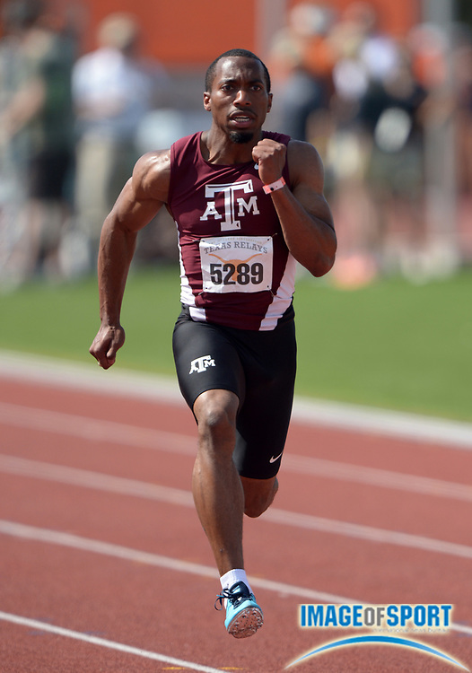 Mar 28, 2014; Austin, TX, USA; Prezel Hardy Jr. of Texas A&M runs 10.19 in a 100m heat in the 87th Clyde Littlefield Texas Relays at Mike A. Myers Stadium.