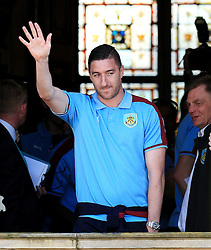 Burnley's Stephen Ward waves to the crowd - Mandatory by-line: Matt McNulty/JMP - 09/05/2016 - FOOTBALL - Burnley Town Hall - Burnley, England - Burnley FC Championship Trophy Presentation