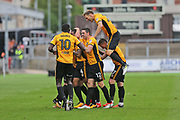 Newport players celebrate  Newport  Joss Labadie (4) goal 2-0 second half during the EFL Sky Bet League 2 match between Newport County and Yeovil Town at Rodney Parade, Newport, Wales on 7 October 2017. Photo by Gary Learmonth.