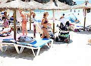 EXCLUSIVE<br />Billie and sam Faiers spend a day at the beach in Ibiza with there children both girls looking stunning in bikinis <br />©Exclusivepix Media
