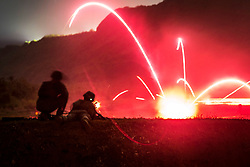 "Lance Cpl. Tyler Marshall, a rifleman with Alpha Company, Battalion Landing Team, 1st Battalion, 4th Marines, the ""China Marines,"" fires an M240G medium machine gun during low-light live-fire machine gun training at Anderson Air Force Base, Guam, March 11, 2019. Marshall, a native of Greenfield, Illinois, graduated from Greenfield High School in May 2017 before enlisting the following month. Alpha Company Marines are the small boat raid specialists for BLT 1/4, the Ground Combat Element for the 31st Marine Expeditionary Unit. The 31st MEU, the Marine Corps' only continuously forward-deployed MEU partnering with the U.S. Navy's Amphibious Squadron 11, provides a flexible and lethal force ready to perform a wide range of military operations as the premier crisis response force in the Indo-Pacific region. (Official Marine Corps photo by Lance Cpl. Harrison C. Rakhshani/Released)"