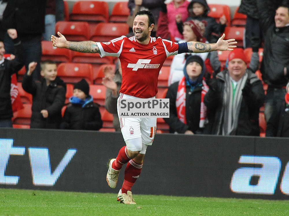Nottingham Forest Andy Reid Celebrates after Scoring Forests 5th Goal aginst West Ham, 5TH January 2014
