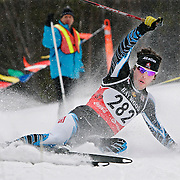Ian Stewart/Yukon News<br /> National Ski Team member Anthony Laroche takes a tumble during the overall men's 15-kilometre free race at Mount McIntyre on Wednesday. The 2010 Haywood Ski Nationals are taking place all week in Whitehorse.