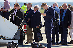 LIVERPOOL, ENGLAND - Monday, May 16, 2016: Hillsborough campaigner Trevor Hicks boards the Liverpool team plane to Basel as they fly out of Liverpool John Lennon Airport to Switzerland ahead of the UEFA Europa League Final against Sevilla FC. (Pic by David Rawcliffe/Propaganda)