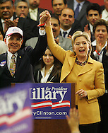 McAllen, TX - 13 Feb 2008 -.Senator Hillary Clinton, D-New York, appears with U.S. Rep. Ruben Hinojosa, D-Mercedes, at a rally on Wednesday morning at the McAllen Convention Center.