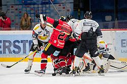 22.10.2016, Ice Rink, Znojmo, CZE, EBEL, HC Orli Znojmo vs Dornbirner Eishockey Club, 13. Runde, im Bild v.l. James Livingston (Dornbirner) Dalibor Reznicek (HC Orli Znojmo) Olivier Magnan (Dornbirner) Nicholas Crawford (Dornbirner) Florian Hardy (Dornbirner) // during the Erste Bank Icehockey League 13th round match between HC Orli Znojmo and Dornbirner Eishockey Club at the Ice Rink in Znojmo, Czech Republic on 2016/10/22. EXPA Pictures © 2016, PhotoCredit: EXPA/ Rostislav Pfeffer