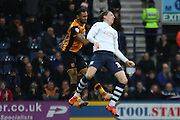 Preston North End Midfielder Adam Reach wins the challenge during the Sky Bet Championship match between Preston North End and Hull City at Deepdale, Preston, England on 28 December 2015. Photo by Pete Burns.