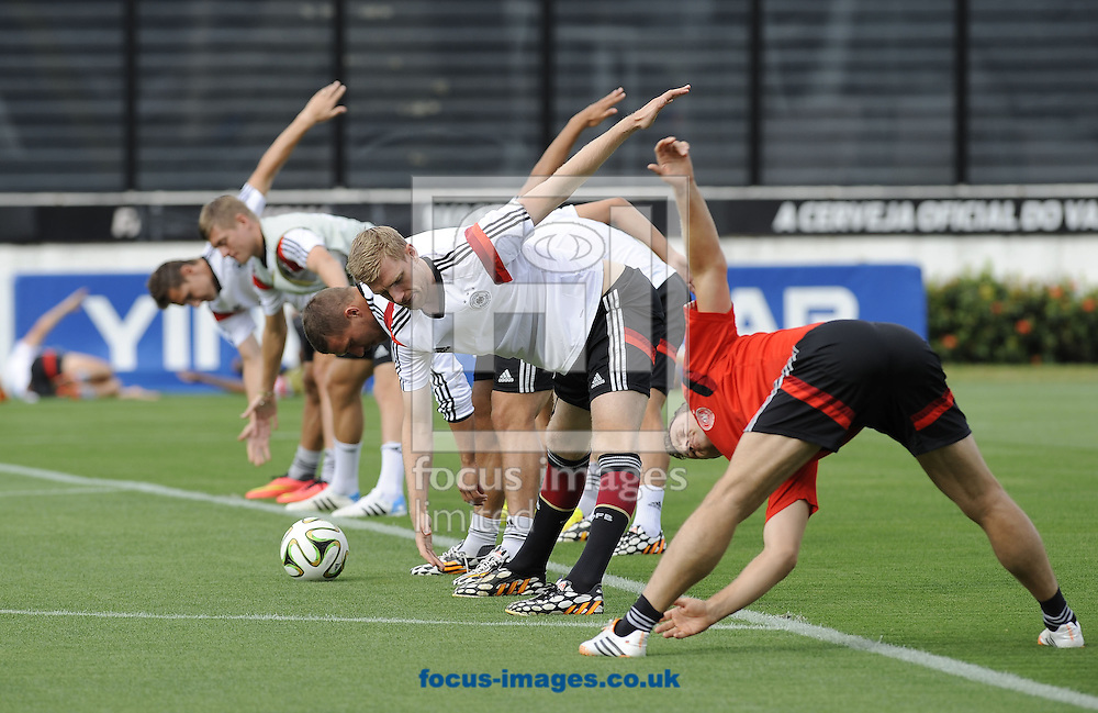 Germany players stretch during the warm up at Maracana Stadium, Rio de Janeiro<br /> Picture by Stefano Gnech/Focus Images Ltd +39 333 1641678<br /> 12/07/2014