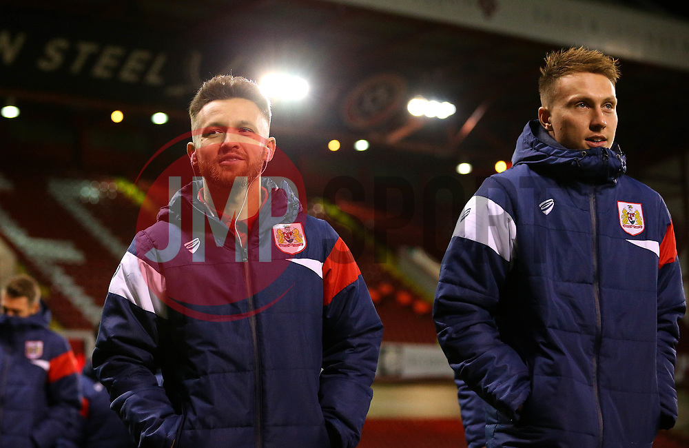 Matty Taylor and Cauley Woodrow of Bristol City arrive at Bramall Lane for the fixture against Sheffield United - Mandatory by-line: Robbie Stephenson/JMP - 08/12/2017 - FOOTBALL - Bramall Lane - Sheffield, England - Sheffield United v Bristol City - Sky Bet Championship