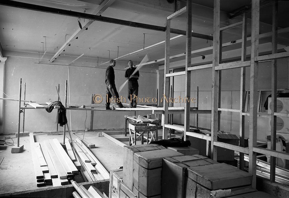 13/07/1967<br /> 07/13/1967<br /> 13 July 1967<br /> Interior of  computer room under construction at Arnotts on Henry Street, Dublin.
