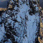 An aerial view of the South Face of Mount Kenya, showing the Diamond Couloir.