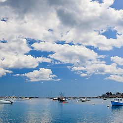 Puffy clouds above Rye Harbor in Rye, New Hampshire.
