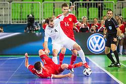 Taynan of Kazakhstan and Daniil Davydov of Russia during futsal match between Russia and Kazakhstan in Third place match of UEFA Futsal EURO 2018, on February 10, 2018 in Arena Stozice, Ljubljana, Slovenia. Photo by Ziga Zupan / Sportida