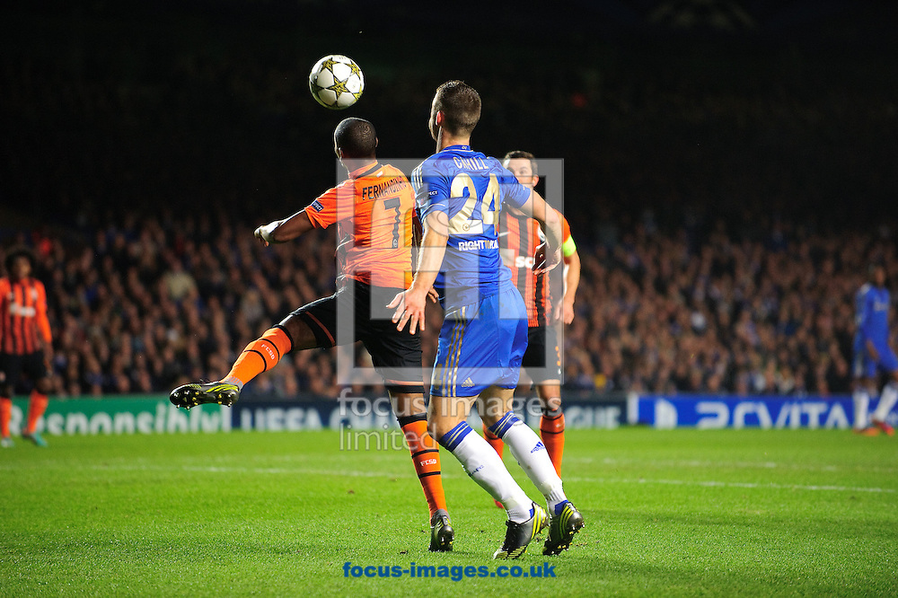 Picture by Gerald O'Rourke/Focus Images Ltd +44 7500 165179.07/11/2012.Gary Cahill of Chelsea and Fernandinho of Shakhtar during the UEFA Champions League match at Stamford Bridge, London.