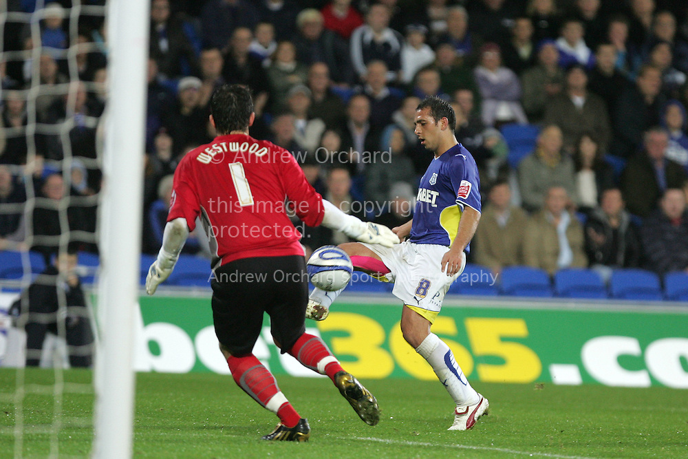Michael Chopra of Cardiff City. Coca Cola championship match, Cardiff city v Coventry city at the Cardiff city stadium on Tuesday 20th Oct 2009. pic by Andrew Orchard, Andrew Orchard sports photography,
