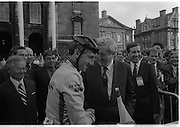 Nissan International Cycle Race..1986..01.10.1986..10.01.1986..1st October 1986..The Nissan Classic began today from Trinity College,Dublin. The offical race starter was The Taoiseach,Dr Garrett FitzGerald TD. He was accompanied by the Minister for Sport,Mr Sean Barrett TD..Sean Kelly was returning to defend his title but his opposition included Greg LeMond, the 1983 world champion and the winner of the Tour de France of the previous July. Roche was out due to his injured leg. Adri van der Poel was back with 1980 Tour de France winner and 1985 world champion Joop Zoetemelk. Teun van Vliet was back too. The winner of the green jersey of the Tour de France that July, Eric Vanderaerden was there as well as Australians Phil Anderson and Alan Peiper as well the Scottish cyclist Robert Millar...Image of An Taoiseach,Dr Garret FitzGerald,having a word in the ear of Sean Kelly.