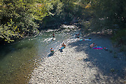"""Record hot August day on the Olympic Peninsula brings people to """"the beach""""—along the Dungeness River."""