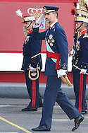 King Felipe VI of Spain attended the Military Parade during the Spanish National Day on October 12, 2014 in Madrid, Spain