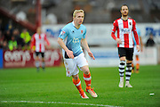 Mark Cullen (9) of Blackpool during the EFL Sky Bet League 2 match between Exeter City and Blackpool at St James' Park, Exeter, England on 25 February 2017. Photo by Graham Hunt.