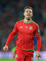 CARDIFF, WALES - Tuesday, October 13, 2015: Wales' Aaron Ramsey in action against Andorra during the UEFA Euro 2016 qualifying Group B match at the Cardiff City Stadium. (Pic by David Rawcliffe/Propaganda)