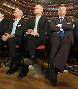 Conservative Party Conference, ICC, Birmingham, Great Britain <br /> Day 2<br /> 8th October 2012 <br /> <br /> Rt Hon George Osborne MP <br /> <br /> Chancellor of the Exchequer keynote speech <br /> <br /> William Hague & Michael Gove watching speech <br /> <br /> Photograph by Elliott Franks<br /> <br /> <br /> Tel 07802 537 220 <br /> elliott@elliottfranks.com<br /> <br /> ©2012 Elliott Franks<br /> Agency space rates apply