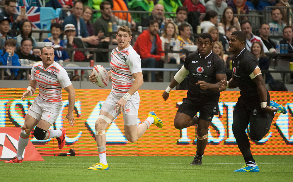 Ruaridh McConnochie plays for England against Fiji in the semi final  during the knockout stages of the Canada Sevens,  Round Six of the World Rugby HSBC Sevens Series in Vancouver, British Columbia, Sunday March 12, 2017. <br /> <br /> Jack Megaw.<br /> <br /> www.jackmegaw.com<br /> <br /> jack@jackmegaw.com<br /> @jackmegawphoto<br /> [US] +1 610.764.3094<br /> [UK] +44 07481 764811