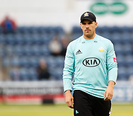 Surrey's Aaron Finch<br /> <br /> Photographer Simon King/Replay Images<br /> <br /> Vitality Blast T20 - Round 14 - Glamorgan v Surrey - Friday 17th August 2018 - Sophia Gardens - Cardiff<br /> <br /> World Copyright &copy; Replay Images . All rights reserved. info@replayimages.co.uk - http://replayimages.co.uk