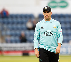 Surrey's Aaron Finch<br /> <br /> Photographer Simon King/Replay Images<br /> <br /> Vitality Blast T20 - Round 14 - Glamorgan v Surrey - Friday 17th August 2018 - Sophia Gardens - Cardiff<br /> <br /> World Copyright © Replay Images . All rights reserved. info@replayimages.co.uk - http://replayimages.co.uk