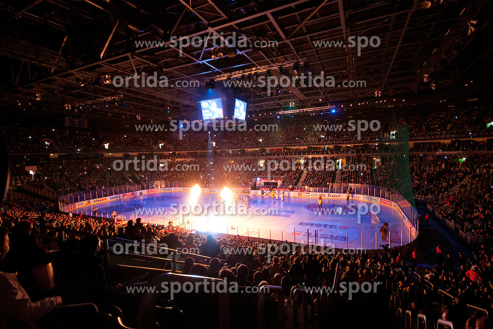 Light-show before ice-hockey match between KHL Medvescak Zagreb and HK Acroni Jesenice in 39th Round of EBEL league, on Januar 8, 2012 at Arena Zagreb, Zagreb, Croatia. (Photo By Matic Klansek Velej / Sportida)