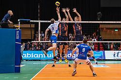 12-05-2019 NED: Abiant Lycurgus - Achterhoek Orion, Groningen<br /> Final Round 5 of 5 Eredivisie volleyball, Orion wins Dutch title after thriller against Lycurgus 3-2 / Twan Wiltenburg #9 of Orion, Joris Marcelis #4 of Orion, Auke van de Kamp #5 of Lycurgus