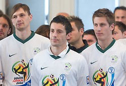 Milivoje Novakovic, Robert Koren and Valter Birsa at Reception of Slovenian National football team at president of Republic of Slovenia dr. Danilo Turk after Slovenia qualified for the FIFA World Cup South Africa 2010, in President's place , Ljubljana, Slovenia.   (Photo by Vid Ponikvar / Sportida)