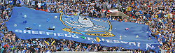 SHEFFIELD WEDNESDAY FLAG FANS, Hull City v Sheffield Wednesday, Championship Play Offs, Wembley Stadium Saturday 28th May 2016.<br /> Photo:Mike Capps