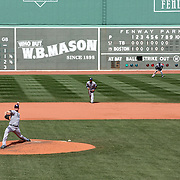 Players in action during the Boston Red Sox V Tampa Bay Rays, Major League Baseball game on Jackie Robinson Day, Fenway Park, Boston, Massachusetts, USA, 15th April, 2013. Photo Tim Clayton