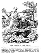 "The Power of the Press. Mr Lloyd George. ""Ah! My friend, you never had a campaign against you in the press."" Earl Balfour. ""On the contrary, when I was about your age, I was told that some of those very papers used to say, 'BMG,' which I understand to have meant 'Balfour Must Go;' but that didn't cramp my style. And now I hear they say that I'm the greatest living statesman, and that doesn't worry me either."" (Lloyd George reads the newspapers while abroad at the Genoa Conference during the InterWar era)"