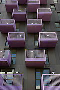 New apartment balconies in recently-completed housing in Stratford, a short distance from the 2012 Olympic Park.