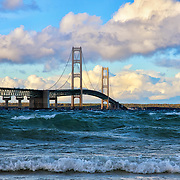 &quot;Mackinac Among the Waves&quot;<br /> <br /> Mackinac Bridge an amazingly beautiful suspension bridge with large waves rolling through the straights of Mackinac, and lovely puffy clouds moving through the sky!<br /> <br /> Mackinac Bridge by Rachel Cohen