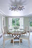 Stamford home, dining room. Interior design by Jeffrey Kilmer Design.