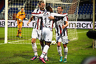 Onderwerp/Subject: Willem II - Eredivisie<br /> Reklame:  <br /> Club/Team/Country: <br /> Seizoen/Season: 2012/2013<br /> FOTO/PHOTO: Virgil MISIDJAN (C) of Willem II celebrating his penalty goal with Niek VOSSEBELT (L) of Willem II and Nicky HOFS ( Nick HOFS ) (R) of Willem II ( 1 - 1 ). (Photo by PICS UNITED)<br /> <br /> Trefwoorden/Keywords: <br /> #02 #04 $94 &plusmn;1354627667242<br /> Photo- &amp; Copyrights &copy; PICS UNITED <br /> P.O. Box 7164 - 5605 BE  EINDHOVEN (THE NETHERLANDS) <br /> Phone +31 (0)40 296 28 00 <br /> Fax +31 (0) 40 248 47 43 <br /> http://www.pics-united.com <br /> e-mail : sales@pics-united.com (If you would like to raise any issues regarding any aspects of products / service of PICS UNITED) or <br /> e-mail : sales@pics-united.com   <br /> <br /> ATTENTIE: <br /> Publicatie ook bij aanbieding door derden is slechts toegestaan na verkregen toestemming van Pics United. <br /> VOLLEDIGE NAAMSVERMELDING IS VERPLICHT! (&copy; PICS UNITED/Naam Fotograaf, zie veld 4 van de bestandsinfo 'credits') <br /> ATTENTION:  <br /> &copy; Pics United. Reproduction/publication of this photo by any parties is only permitted after authorisation is sought and obtained from  PICS UNITED- THE NETHERLANDS