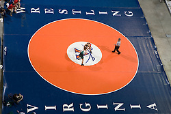 Jimmy Webb of George Mason University takes on Curtis Moore of VMI in a 184lb weight division bout.  The 2008 Virginia Intercollegiate Wresting Championships were hosted by the University of Virginia at the John Paul Jones Arena in Charlottesville, VA on January 5, 2008.
