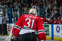 KELOWNA, CANADA - APRIL 8: Cole Kehler #31 of the Portland Winterhawks skates to the bench against the Kelowna Rockets on April 8, 2017 at Prospera Place in Kelowna, British Columbia, Canada.  (Photo by Marissa Baecker/Shoot the Breeze)  *** Local Caption ***