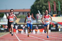 STEIN Niels, QUIATOL Hugues, ANTIPOV Andrey, GER, FRA, RUS, 100m, T35, 2013 IPC Athletics World Championships, Lyon, France