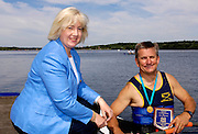 2006, National Rowing Championships,  Strathclyde Country Park,  Motherwell, SCOTLAND. Patricia FERGUSON, SMP, Minister of Tourism, Culture and Sport, presents, Rob HOLLIDAY,Ardingly Rowing Club, with aGold Medal and Plaque for winning the OA1X,  on Sunday, 16.07.2006.  Photo  Peter Spurrier/Intersport Images email images@intersport-images.com. Finals Day.... Rowing Course, Strathclyde Country Park,  Motherwell, SCOTLAND.
